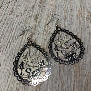 Silver Dove Love Earrings